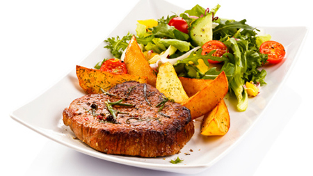 Your Healthy Dinner Shopping List Grilled meat, potatoes and vegetables